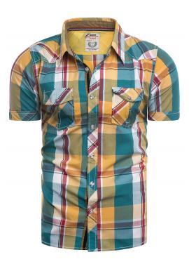 Žluto-zelená károvaná košile s krátkým rukávem pro pány