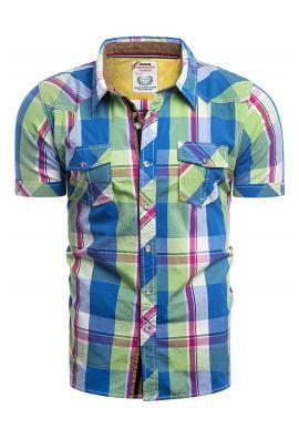 Károvaná pánská košile zeleno-modré barvy s krátkým rukávem