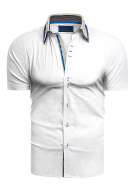 Pánská elegantní košile s krátkým rukávem v bílé barvě