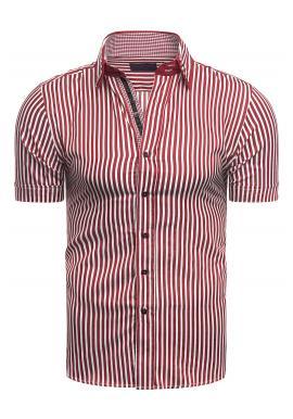Červeno-bílá pásikavá košile s krátkým rukávem pro pány