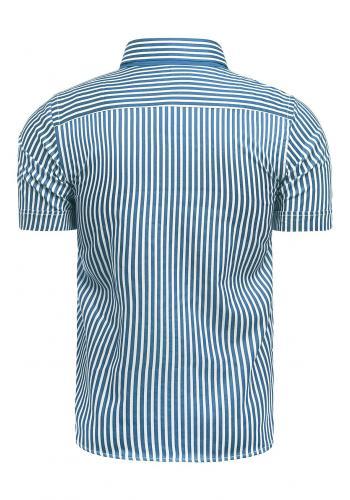 Pásikavá pánská košile modro-bílé barvy s krátkým rukávem