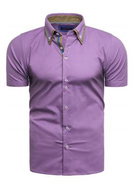 Klasická pánská košile fialové barvy s krátkým rukávem