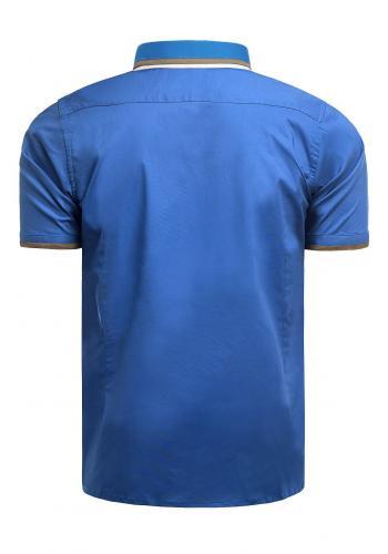Pánská slim fit košile s krátkým rukávem v tyrkysové barvě