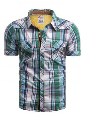 Károvaná pánská košile zelené barvy s kapsami na hrudi