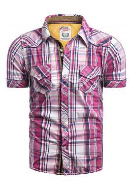 Pánské kárované košile s kapsami na hrudi v růžové barvě