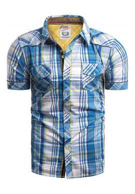 Modrá károvaná košile s kapsami na hrudi pro pány