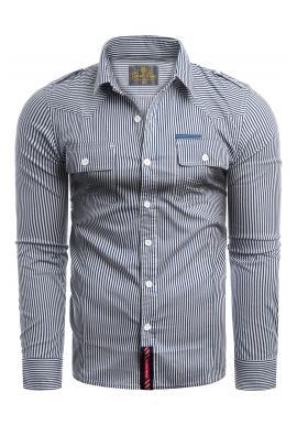 Pánská pásikavá košile s kapsami na hrudi v tmavě modré barvě