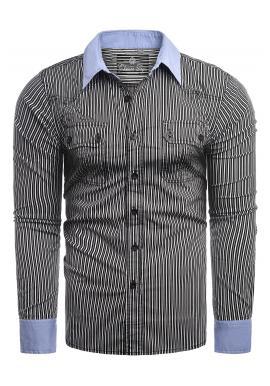 Pásikavá pánská košile černé barvy s dlouhým rukávem