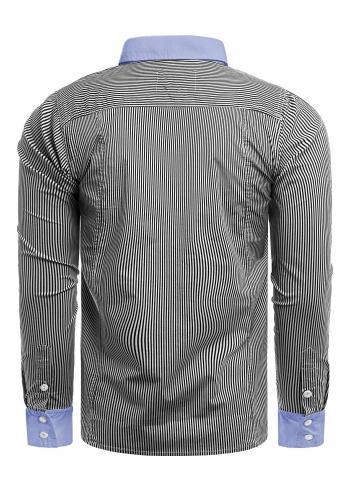 Tmavě šedá pásikavá košile s dlouhým rukávem pro pány