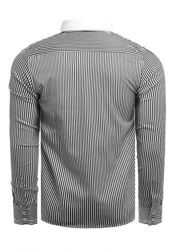 Pánské proužkované košile s dlouhým rukávem v černo-bílé barvě
