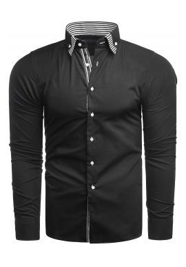 Pánské elegantní košile s dlouhým rukávem v černé barvě