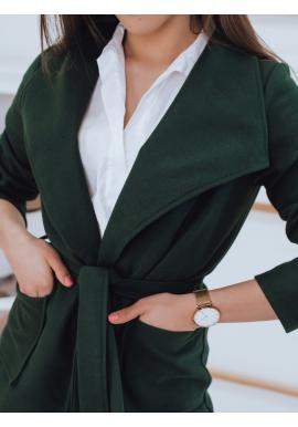 Dámský stylový kabát s vázáním v pase v zelené barvě
