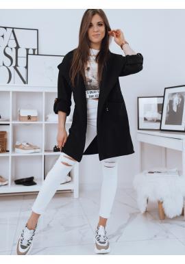 Módní dámský kabát černé barvy s velkým límcem