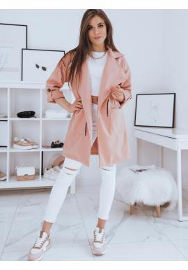 Broskvový módní kabát s velkým límcem pro dámy