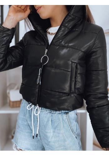 Dámská krátká prošívaná bunda v černé barvě