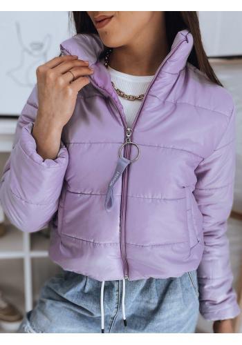 Fialová krátká prošívaná bunda pro dámy