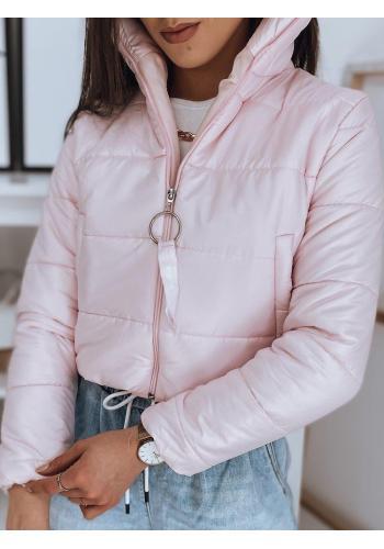 Krátká prošívaná dámská bunda růžové barvy