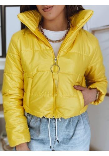 Krátká prošívaná dámská bunda žluté barvy