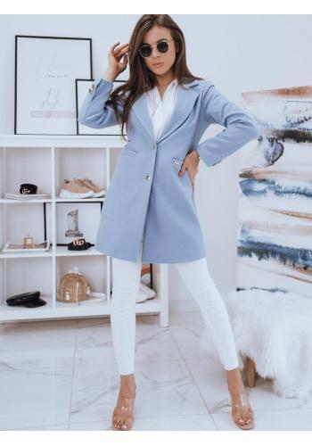 Dámský jednořadý kabát se dvěma knoflíky v světle modré barvě