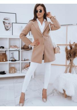 Jednořadý dámský kabát béžové barvy se dvěma knoflíky