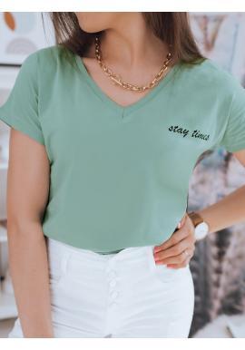 Bavlněné dámské tričko zelené barvy s malým nápisem