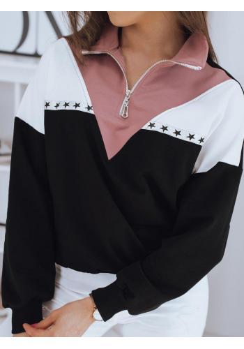 Stylová dámská mikina černé barvy se zapínaným rolákem