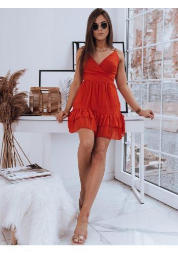 Červené romantické šaty na ramínka pro dámy