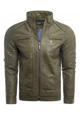 Pánská přechodná kožená bunda s prošíváním v zelené barvě