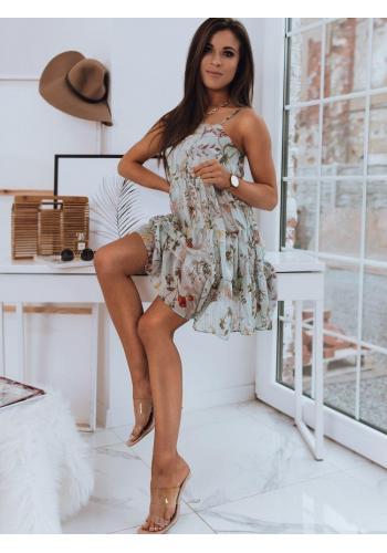 Květované dámské šaty mátové barvy na ramínka