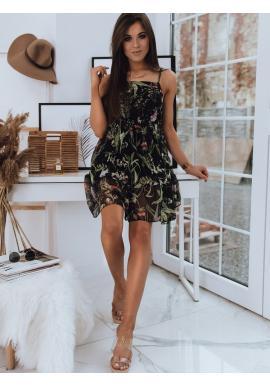 Dámské květované šaty na ramínka v černé barvě