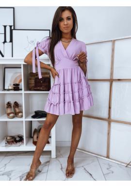 Dámské romantické šaty s volány ve fialové barvě