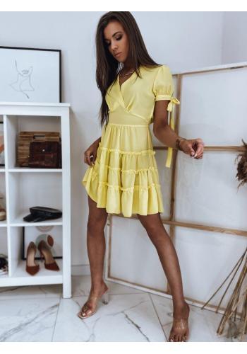 Žluté romantické šaty s volány pro dámy