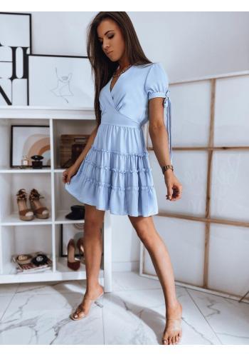Romantické dámské šaty světle modré barvy s volány