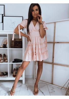 Romantické dámské šaty růžové barvy s volány