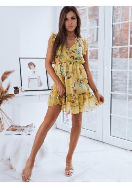 Dámské letní šaty s květy ve žluté barvě