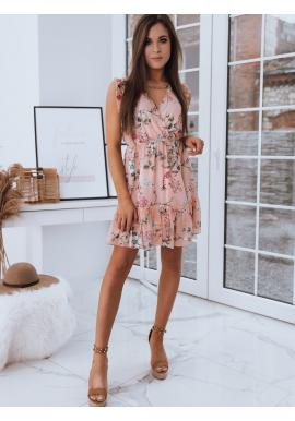 Růžové letní šaty s květinami pro dámy