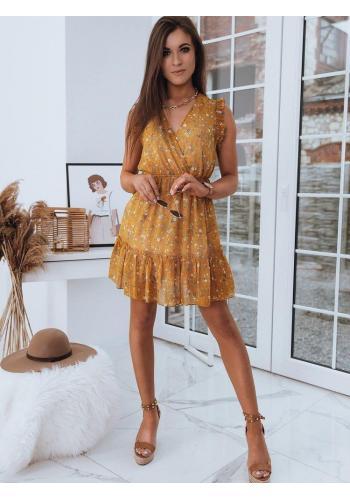 Letní dámské šaty oranžové barvy s květinami