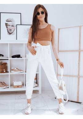 Dámské módní kalhoty s vázáním v pase v bílé barvě