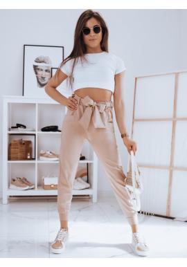 Módní dámské kalhoty béžové barvy s vázáním v pase