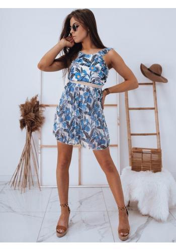 Dámský květovaný overal na léto v modro-bílé barvě