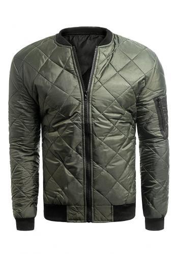 Prošívaná pánská bunda khaki barvy na jaro