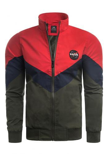 Pánská přechodná bunda bez kapuce v červeno-zelené barvě