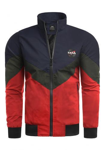 Přechodné pánské bundy modro-červené barvy bez kapuce