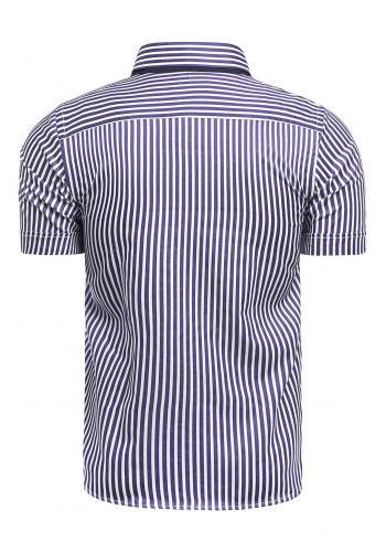 Pásikavá pánská košile fialovo-bílé barvy s krátkým rukávem