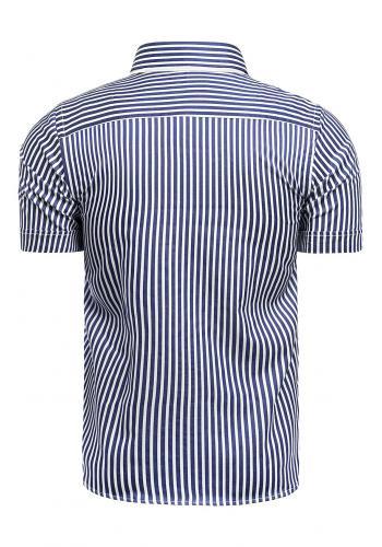 Pánská pásikavá košile s krátkým rukávem v modro-bílé barvě