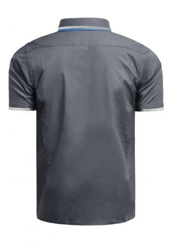 Tmavě šedá elegantní košile s krátkým rukávem pro pány