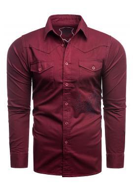 Bordová módní košile s potiskem na zádech pro pány