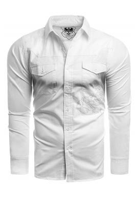 Módní pánská košile bílé barvy s potiskem na zádech