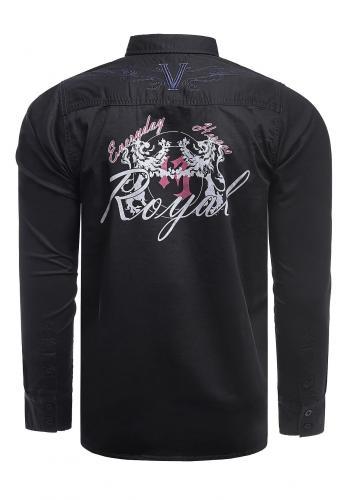 Černá módní košile s potiskem na zádech pro pány