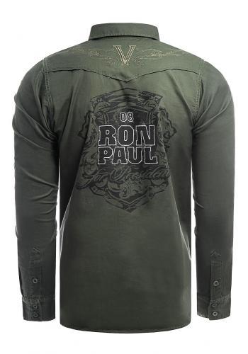 Módní pánská košile khaki barvy s potiskem na zádech